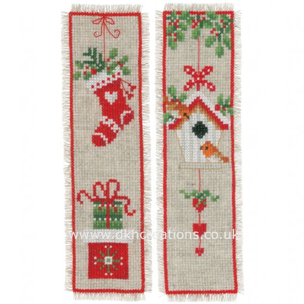 Christmas Motifs Birdhouse Bookmarks Cross Stitch Kit